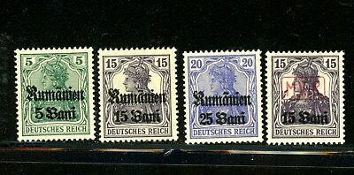 Romania - selection of 4 occupation overprints