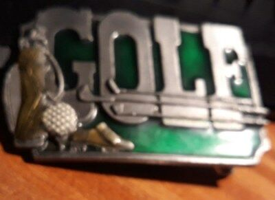 Green 1985 GOLF BELT BUCKLE  Golf Bag  siskiyou Buklo OREGON USA K30 Never used