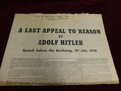 Last Appeal To Reason By Adolf Hitler Dropped In Air Raid 1940 Battle Of Britain