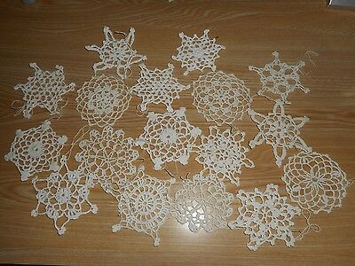 VIntage starched Crochet Snowflake Christmas Tree Ornaments Lot Of 17