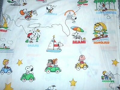 """Snoopy Peanuts Vintage 70's Usa Edition """"travel America First"""" Twin Flat Sheet"""