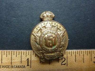 WWI CEF 157th Canadian Infantry Battalion Collar Badge (Simcoe Foresters)