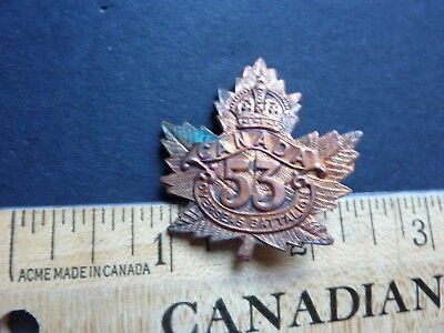 WWI CEF 53rd Canadian Infantry Battalion Cap Badge (With Flat back)