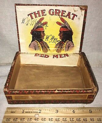 Antique Wood Cigar Box Vintage Tobacco The Great Red Men Native American Indian
