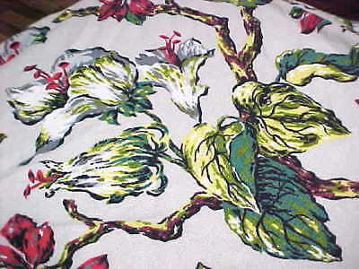 Vtg Original Floral 1940's nubby Barkcloth Chair Slip Cover quilt FABRIC CUTTER