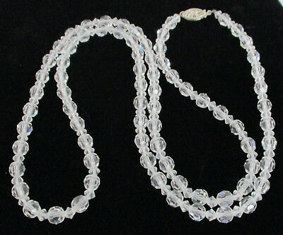 Vintage Faceted Clear Crystal Glass Bead Necklace Silver Clasp