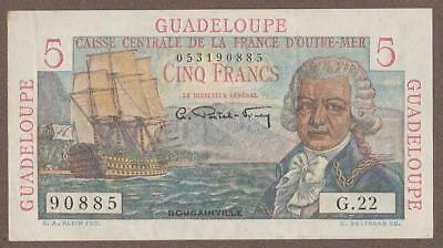 1947/49 Guadeloupe 5 Franc Note Unc