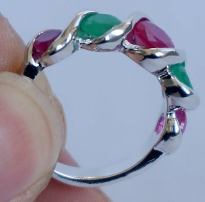 Natural EMERALD & RUBY GEMSTONE 925Silver RING JEWELRY size 7.5