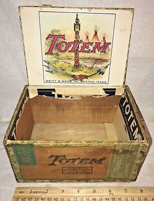 Antique Wood Cigar Box Vintage Tobacco Totem Native American Indian Pole Boston