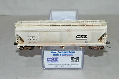 N scale PWRS CSX Transportation RR ACF 3 bay grain covered hopper car WEATHERED