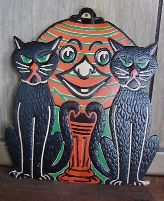 1940's Vtg Black Cats & Jack-o-Lantern Embossed Halloween Die Cut Decoration 9""