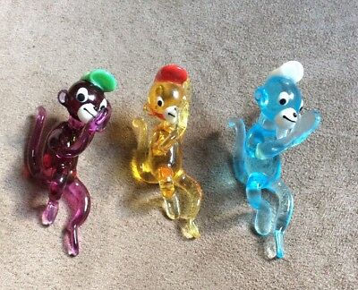Vintage Hand Blown Glass Miniature Hanging Monkeys  Murano?