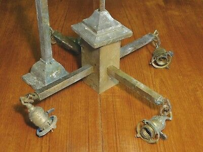 Antique 1920's Solid Brass Mission Style Square Light Fixture Ceiling Chandelier