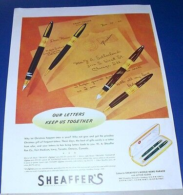 1942 Sheaffer Fountain Pens/Pencils /Sets Ad letters keep us together