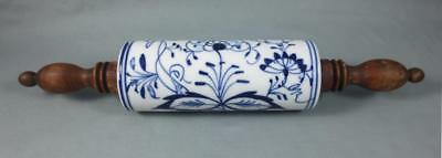 Vintage/ Antique BLUE ONION PORCELAIN ROLLING PIN w/ TURNED WOOD HANDLES Germany