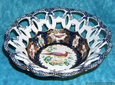Antique English Booths Blue Scale Exotic Bird Basket Bowl Worcester Style