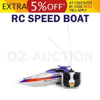 Remote Control RC Streak Racing Speed Boat Ship Radio Toy Kids Gift - Purple