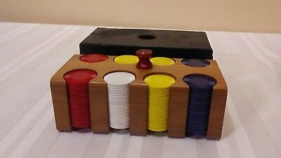 Mini Poker Chips with Wooden Caddy Cardboard Cover