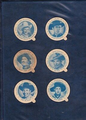 1944 DIXIE LID LOT  6 COWBOY/WESTERN LIDS  includes ROY ROGERS  TOUGH WWII LIDS