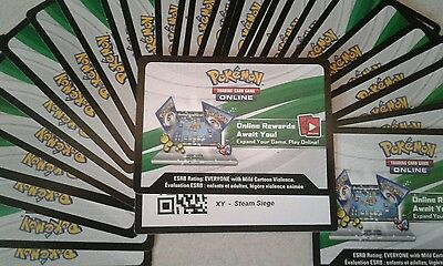 Pokemon Online 100x XY STEAM SIEGE SET Unused Card Pack Code Lot - Typed Out