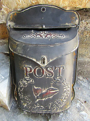 Functional Antique-Style Retro All Metal Mailbox Post Box Package Letter Slot