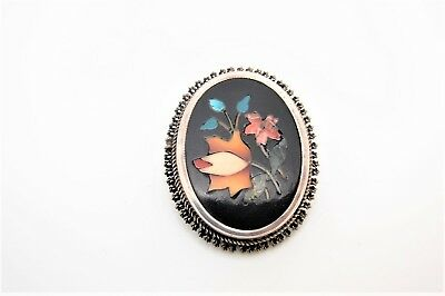 Beuatiful Old Sterling? Silver & Pietra Dura Inlay Brooch w/Floral Design