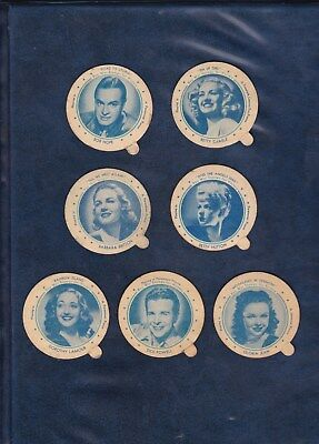 1944 DIXIE LID LOT  7 MOVIE STAR LIDS  includes BOB HOPE  TOUGH WWII LIDS