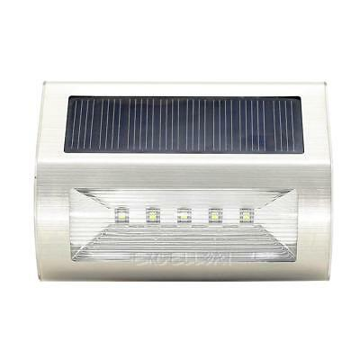 Stainless Steel Solar 5 LED Solar Wall Light Outdoor Garden Lamp Waterproof E0Xc