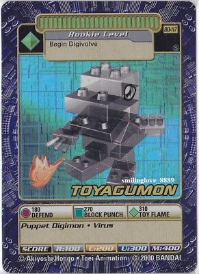 Mint Digimon Booster Series 3 Holo Foil Card - Bo-117S Toyagumon + Bonus Cards