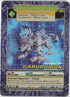 Bandai Digimon Digi-Battle Holo Foil Rare Card - Series 3 - Bo-136S Garurumon Nm