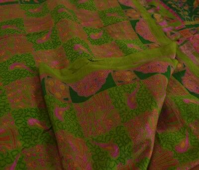 TCW Vintage 100% Pure Silk Saree Green Printed Sari Peacock Craft Fabric