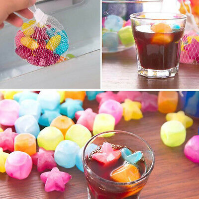 Hot 20pcs Reusable 3D TPU Ice Cubes Fruit Star Multicolor Cooling Tools Partys