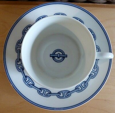 """HERMES PARIS """"Chaine d'Ancre""""  Bleu Porcelain Cup and Saucer  --  Made in France"""