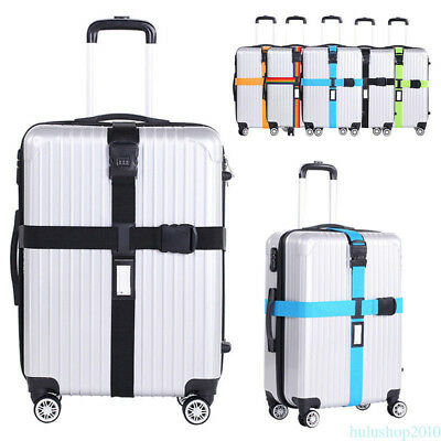 Adjustable Suitcase Luggage Straps With Lock Safe Travel Baggage Belt Cross New