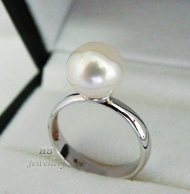 HS Rare 10mm South Sea Cultured Pearl 10mm Ring 925 Sterling Silver Top Grading