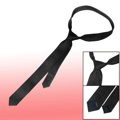 5cm Wide Pin Stripes Pattern Self Tie Skinny Necktie Black for Lady