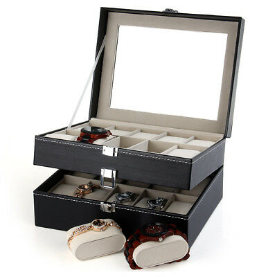 PU Leather 20 Grid Watch Display Case Box Jewelry Storage Organizer Display Case