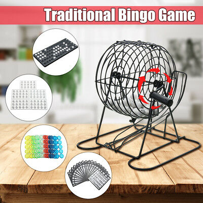 245Pcs Traditional Bingo Lotto Lottery Family Puzzle Game Cage Ball Card Counter