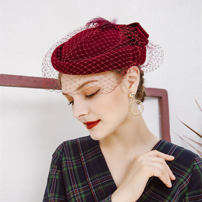 Women Feather Netting 100% Felt Wool Fascinator Cocktail Party Pilllbox Hat Y75