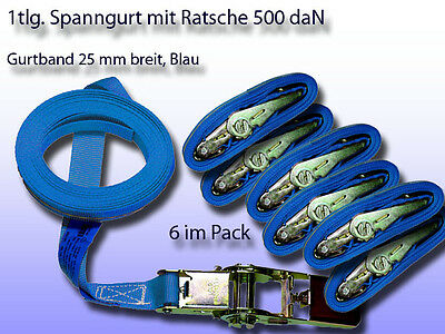 Pack of 6 1 Piece Tension Belt, Lashing Strap with Ratchet BLAU 0 31/32In