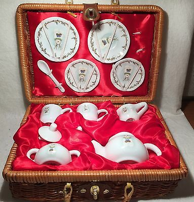 ND Exclusive Childs Porcelain Tea Set & Utensil in Wicker Picnic Basket 12 pc