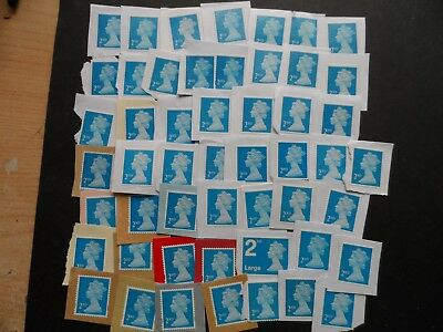 50 UNFRANKED  ON PAPER  2nd class security stamps