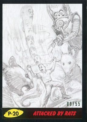 Mars Attacks The Revenge Black [55] Pencil Art Base Card P-20 Attacked by Rats