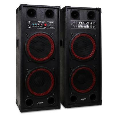 "Fenton SPB-210 PROFESSIONAL DUAL BASS 10"" PA SPEAKERS MASTER / SLAVE USB SD MP3"