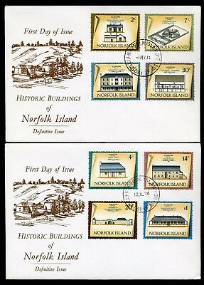 Norfolk Island 1973/75 Buildings set of 16 to $1 - 4 x Unaddressed FDC