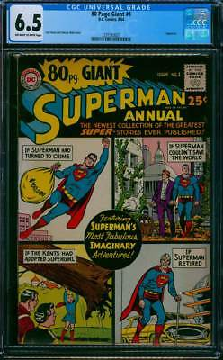 Eighty Page Giant # 1  Superman's Imaginary Adventures !   CGC 6.5 scarce book !