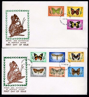Norfolk Island 1976/77 Butterflies set of 17 to $3 - 4 x Unaddressed FDCs