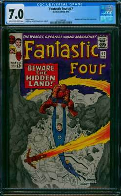 Fantastic Four # 47  Beware the Hidden Land !   CGC 7.0 scarce book !