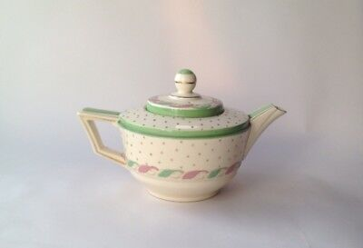 Crown Ducal Teapot for One 'Glade' 597 Green & Pink Art Deco Tea Pot 1930s