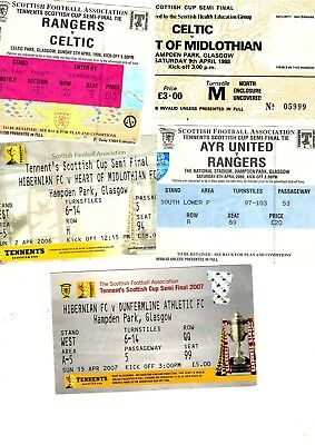Tickets - 5 Scottish Cup Semi-Final Tickets 1988, 1998, 2000, 2006 & 2007 Listed